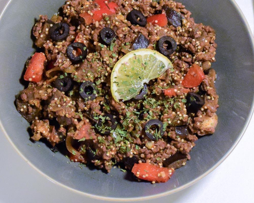 Gehakt-quinoa schotel met Portugese smaken