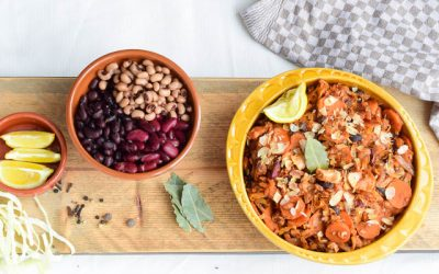 Bonenschotel met zalm en amandel (feijoada)