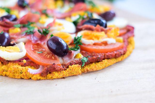 Portugese pizza met bodem van wortel