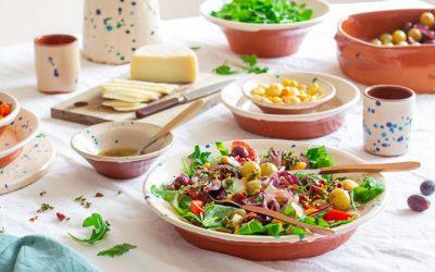 Portugese lupine boontjes in een vegetarische salade