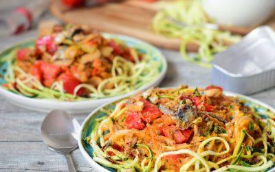 Courgetti recept met sardines en zoete aardappel saus