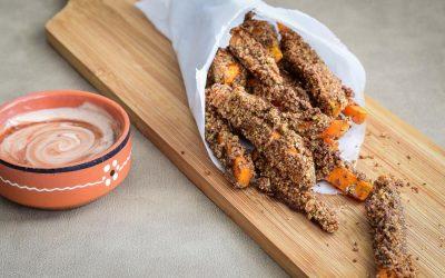 wortelfriet met granola; zoet, krokant en gezond