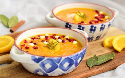 Romige wortelsoep met sinaasappel en rozemarijn