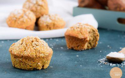 Suikervrije zoete aardappel muffins met kokos