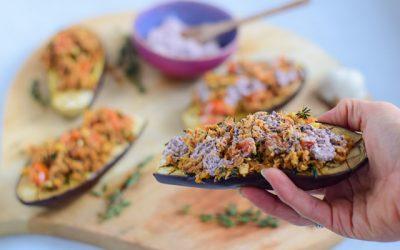 Gevulde aubergine uit de oven met tonijn en tijm