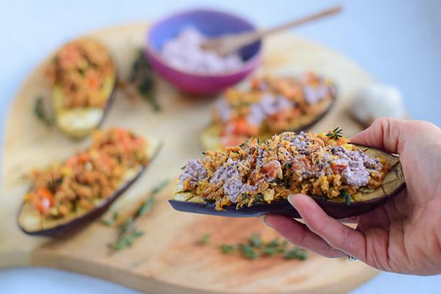 aubergine uit de oven met tonijn