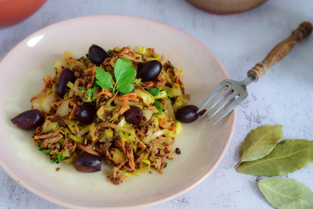 vegetarisch hoofdgerecht alho francés à brás vegetarisch portugees
