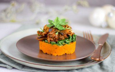 Vegan voorgerecht met pulled aubergine