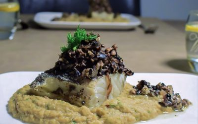 Bacalhau met kikkererwten puree en champignon- tapenade