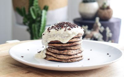 Gezonde bounty pannenkoeken ontbijt