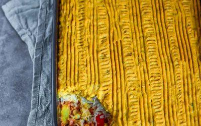 zuurkool ovenschotel met zoete aardappelpuree (vegan)
