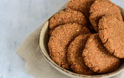 Gezonde pindakaas koekjes met kokos en sinaasappel (vegan)